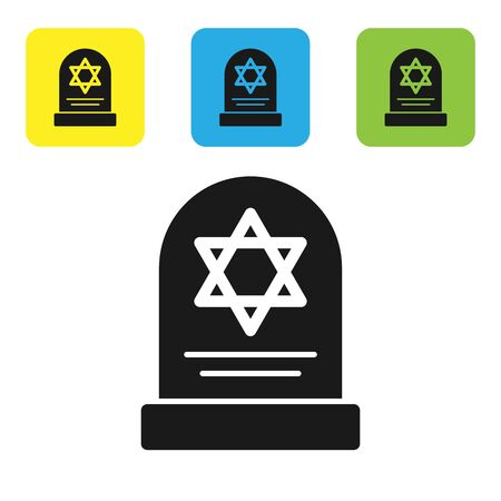 Black Tombstone with star of david icon isolated on white background. Jewish grave stone. Gravestone icon. Set icons colorful square buttons. Vector Illustration