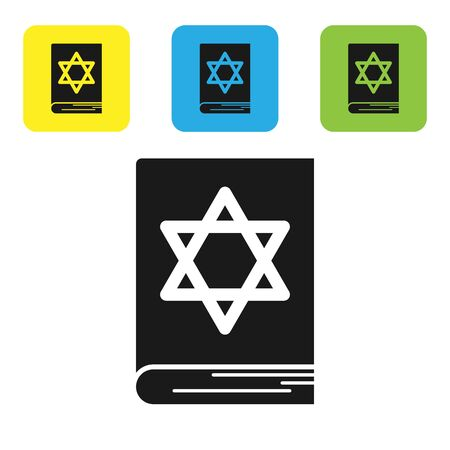 Black Jewish torah book icon isolated on white background. Pentateuch of Moses. On the cover of the Bible is the image of the Star of David. Set icons colorful square buttons. Vector Illustration Çizim