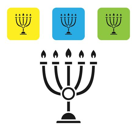 Black Hanukkah menorah icon isolated on white background. Hanukkah traditional symbol. Holiday religion, jewish festival of Lights. Set icons colorful square buttons. Vector Illustration