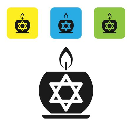 Black Burning candle in candlestick with star of david icon isolated on white background. Cylindrical candle stick with burning flame. Set icons colorful square buttons. Vector Illustration