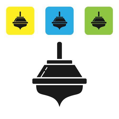 Black Hanukkah dreidel icon isolated on white background. Set icons colorful square buttons. Vector Illustration Çizim