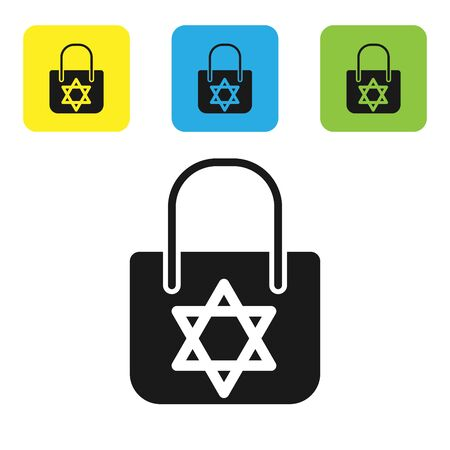 Black Shopping bag with star of david icon isolated on white background. Package sign. Set icons colorful square buttons. Vector Illustration Illustration