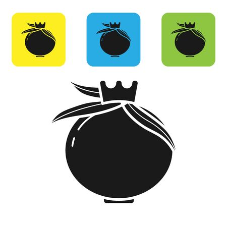Black Pomegranate icon isolated on white background. Garnet fruit. Set icons colorful square buttons. Vector Illustration
