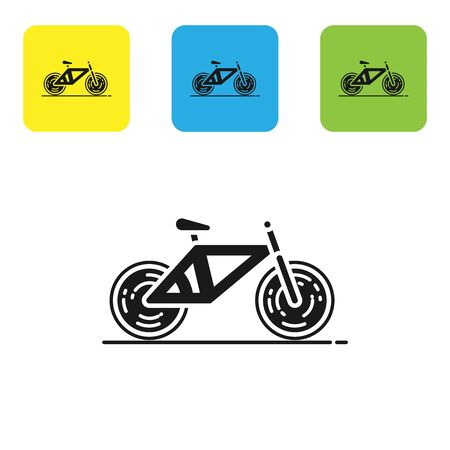 Black Bicycle icon isolated on white background. Bike race. Extreme sport. Sport equipment. Set icons colorful square buttons. Vector Illustration Stock Illustratie