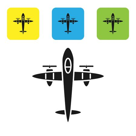 Black Old retro vintage plane icon isolated on white background. Flying airplane icon. Airliner sign. Set icons colorful square buttons. Vector Illustration