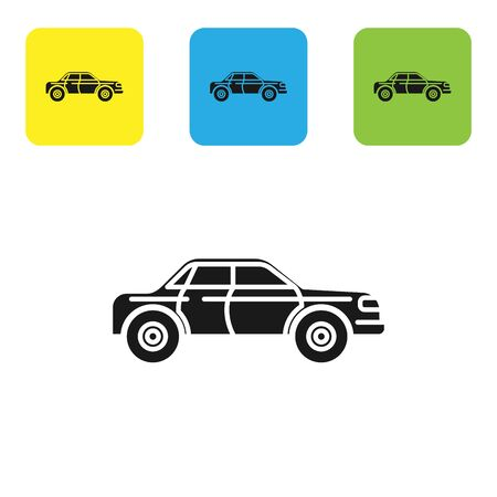 Black Sedan car icon isolated on white background. Set icons colorful square buttons. Vector Illustration Ilustração