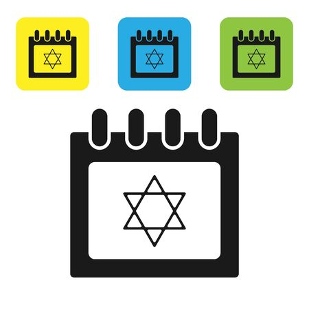 Black Jewish calendar with star of david icon isolated on white background. Hanukkah calendar day. Set icons colorful square buttons. Vector Illustration Illustration