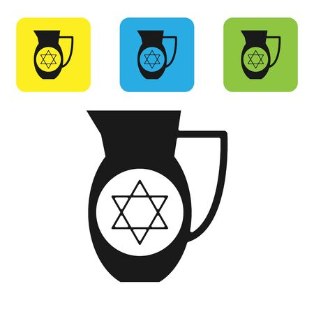 Black Decanter with star of david icon isolated on white background. Pottery jug. Organic product in carafe. Set icons colorful square buttons. Vector Illustration