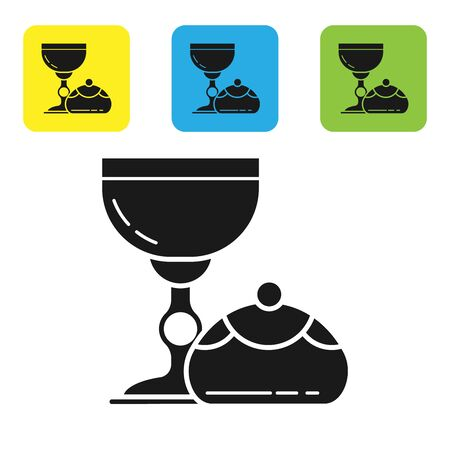 Black Jewish goblet and hanukkah sufganiyot icon isolated on white background. Jewish sweet bakery. Wine cup for kiddush. Set icons colorful square buttons. Vector Illustration Çizim
