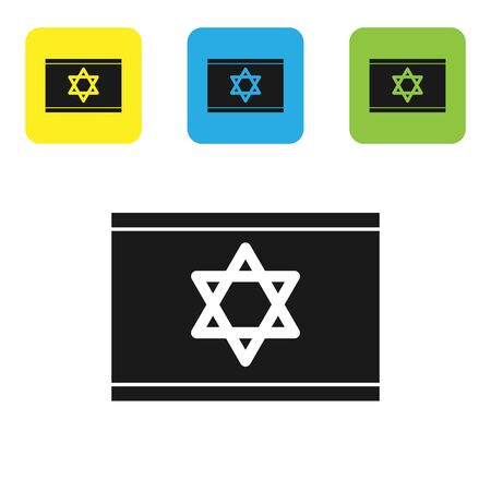 Black Flag of Israel icon isolated on white background. National patriotic symbol. Set icons colorful square buttons. Vector Illustration