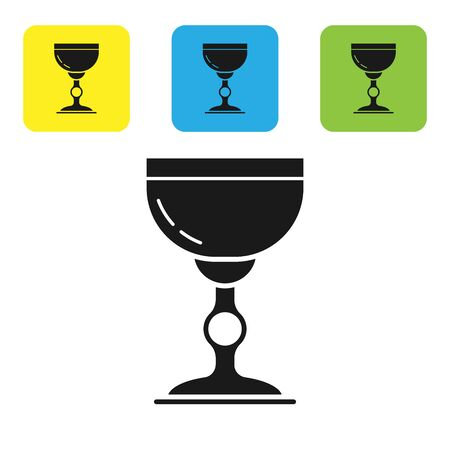 Black Jewish goblet icon isolated on white background. Jewish wine cup for kiddush. Kiddush cup for Shabbat. Set icons colorful square buttons. Vector Illustration