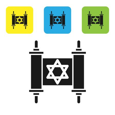 Black Torah scroll icon isolated on white background. Jewish Torah in expanded form. Star of David symbol. Old parchment scroll. Set icons colorful square buttons. Vector Illustration Çizim