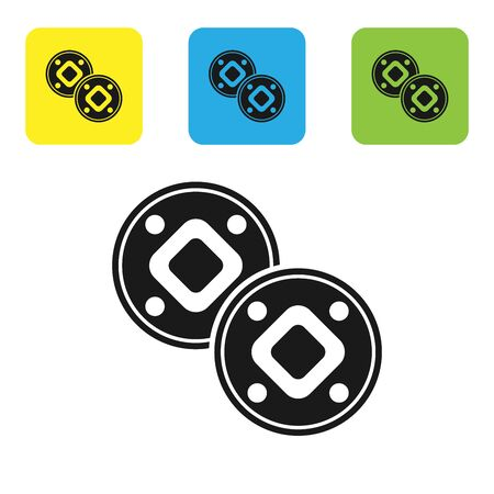 Black Jewish coin icon isolated on white background. Currency symbol. Set icons colorful square buttons. Vector Illustration