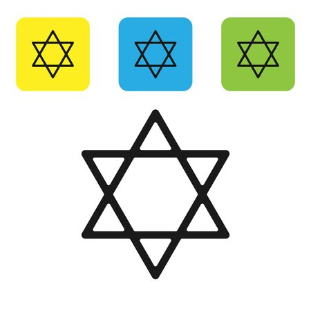 Black Star of David icon isolated on white background. Jewish religion symbol. Symbol of Israel. Set icons colorful square buttons. Vector Illustration