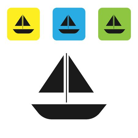 Black Yacht sailboat or sailing ship icon isolated on white background. Sail boat marine cruise travel. Set icons colorful square buttons. Vector Illustration