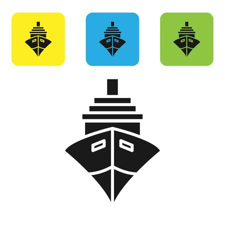 Black Cargo ship icon isolated on white background. Set icons colorful square buttons. Vector Illustration
