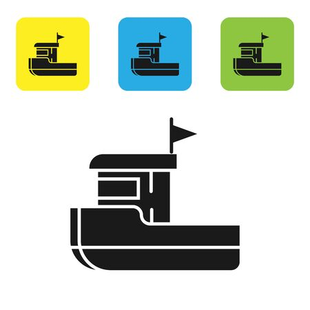 Black Fishing boat icon isolated on white background. Set icons colorful square buttons. Vector Illustration