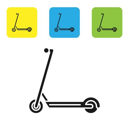 Black Scooter icon isolated on white background. Set icons colorful square buttons. Vector Illustration Ilustração
