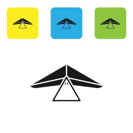 Black Hang glider icon isolated on white background. Extreme sport. Set icons colorful square buttons. Vector Illustration Ilustração