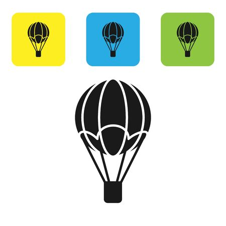 Black Hot air balloon icon isolated on white background. Air transport for travel. Set icons colorful square buttons. Vector Illustration