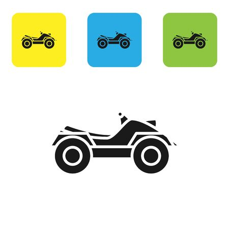 Black All Terrain Vehicle or ATV motorcycle icon isolated on white background. Quad bike. Extreme sport. Set icons colorful square buttons. Vector Illustration Çizim