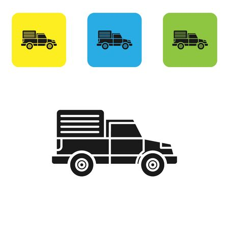 Black Delivery cargo truck vehicle icon isolated on white background. Set icons colorful square buttons. Vector Illustration Çizim