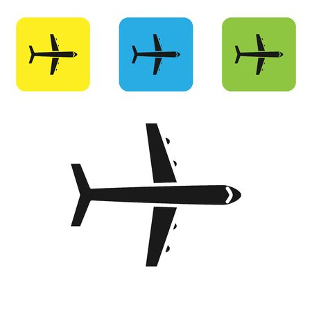 Black Plane icon isolated on white background. Flying airplane icon. Airliner sign. Set icons colorful square buttons. Vector Illustration