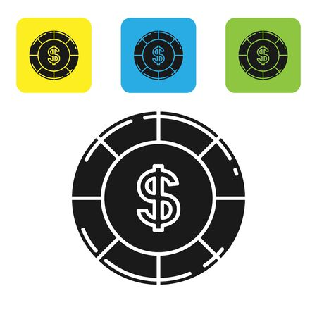 Black Casino chip with dollar symbol icon isolated on white background. Casino gambling. Set icons colorful square buttons. Vector Illustration