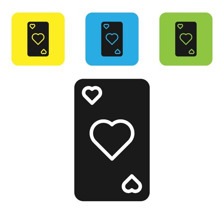 Black Playing card with heart symbol icon isolated on white background. Casino gambling. Set icons colorful square buttons. Vector Illustration 일러스트