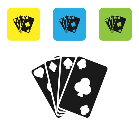 Black Playing cards icon isolated on white background. Casino gambling. Set icons colorful square buttons. Vector Illustration