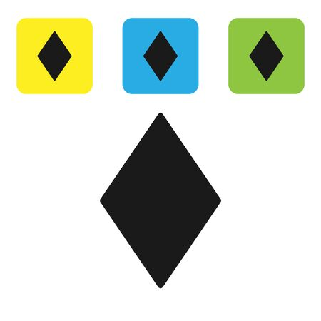 Black Playing card with diamonds symbol icon isolated on white background. Casino gambling. Set icons colorful square buttons. Vector Illustration
