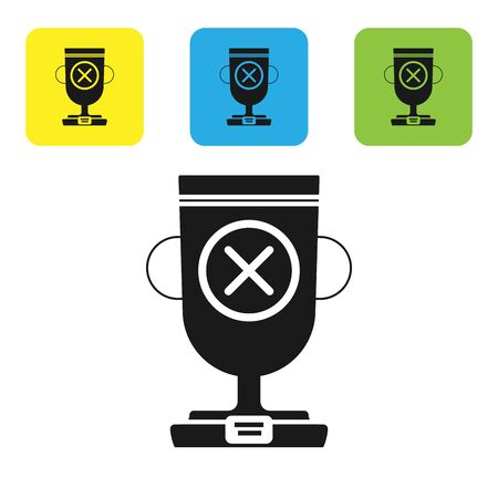 Black Award cup icon isolated on white background. Winner trophy symbol. Championship or competition trophy. Sports achievement sign. Set icons colorful square buttons. Vector Illustration