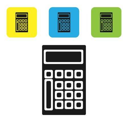 Black Calculator icon isolated on white background. Accounting symbol. Business calculations mathematics education and finance. Set icons colorful square buttons. Vector Illustration