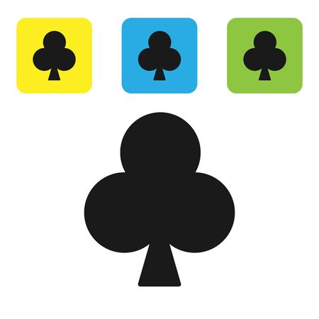 Black Playing card with clubs symbol icon isolated on white background. Casino gambling. Set icons colorful square buttons. Vector Illustration 일러스트