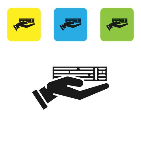 Black Hand holding deck of playing cards icon isolated on white background. Casino gambling. Set icons colorful square buttons. Vector Illustration 일러스트