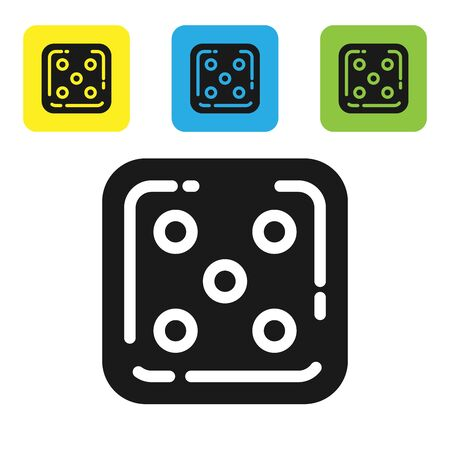 Black Game dice icon isolated on white background. Casino gambling. Set icons colorful square buttons. Vector Illustration 向量圖像