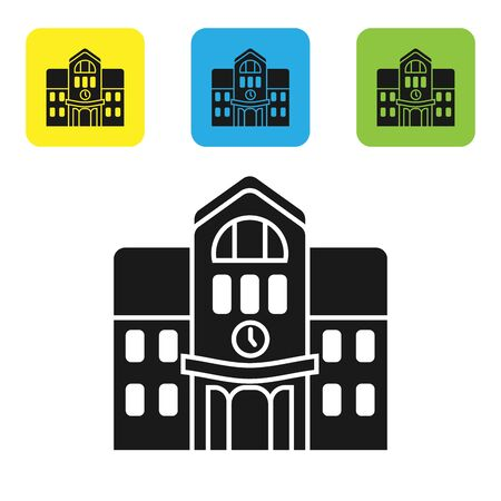 Black School building icon isolated on white background. Set icons colorful square buttons. Vector Illustration
