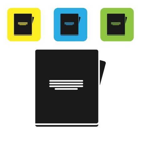 Black Notebook icon isolated on white background. Spiral notepad icon. School notebook. Writing pad. Diary for school. Set icons colorful square buttons. Vector Illustration Иллюстрация