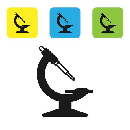 Black Microscope icon isolated on white background. Chemistry, pharmaceutical instrument, microbiology magnifying tool. Set icons colorful square buttons. Vector Illustration