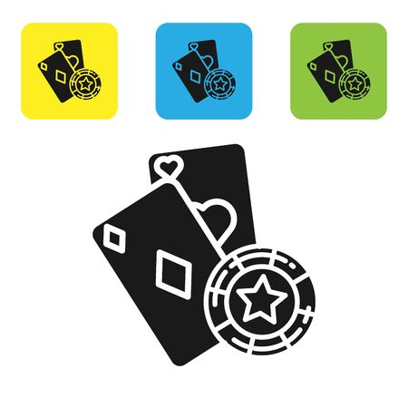 Black Casino chip and playing cards icon isolated on white background. Casino poker. Set icons colorful square buttons. Vector Illustration 일러스트