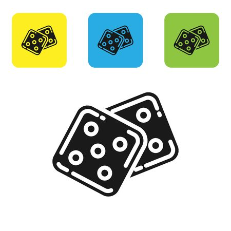 Black Game dice icon isolated on white background. Casino gambling. Set icons colorful square buttons. Vector Illustration Иллюстрация