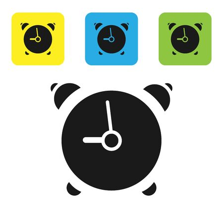 Black Alarm clock icon isolated on white background. Wake up, get up concept. Time sign. Set icons colorful square buttons. Vector Illustration