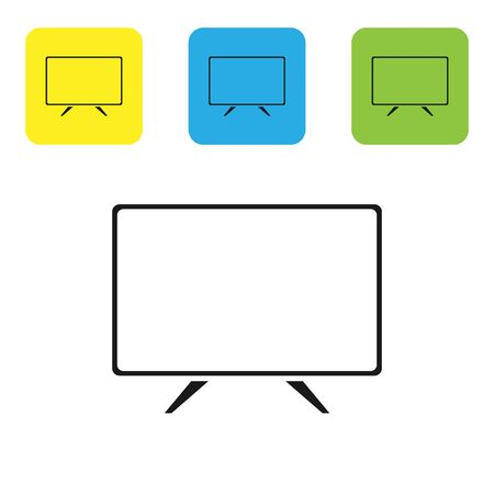 Black Smart Tv icon isolated on white background. Television sign. Set icons colorful square buttons. Vector Illustration