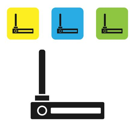 Black Router and internet signal symbol icon isolated on white background. Wireless internet modem router. Computer technology internet. Set icons colorful square buttons. Vector Illustration