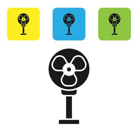 Black Electric fan icon isolated on white background. Set icons colorful square buttons. Vector Illustration Stock Illustratie