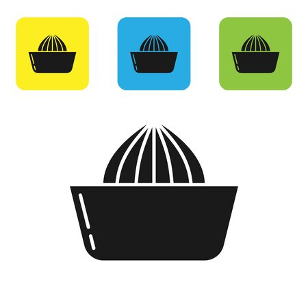 Black Citrus fruit juicer icon isolated on white background. Set icons colorful square buttons. Vector Illustration