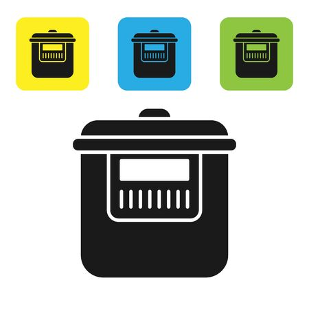 Black Slow cooker icon isolated on white background. Electric pan. Set icons colorful square buttons. Vector Illustration Illustration
