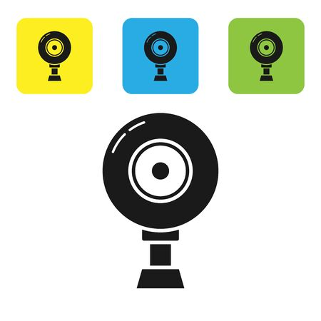 Black Web camera icon isolated on white background. Chat camera. Webcam icon. Set icons colorful square buttons. Vector Illustration  イラスト・ベクター素材