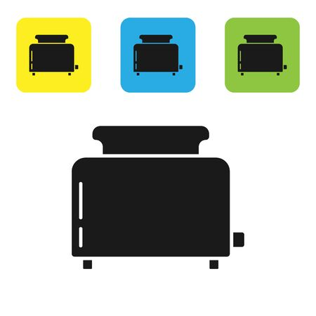 Black Toaster with toasts icon isolated on white background. Set icons colorful square buttons. Vector Illustration