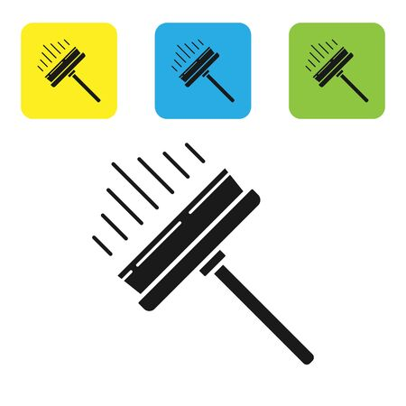 Black Cleaning service with of rubber cleaner for windows icon isolated on white background. Squeegee, scraper, wiper. Set icons colorful square buttons. Vector Illustration